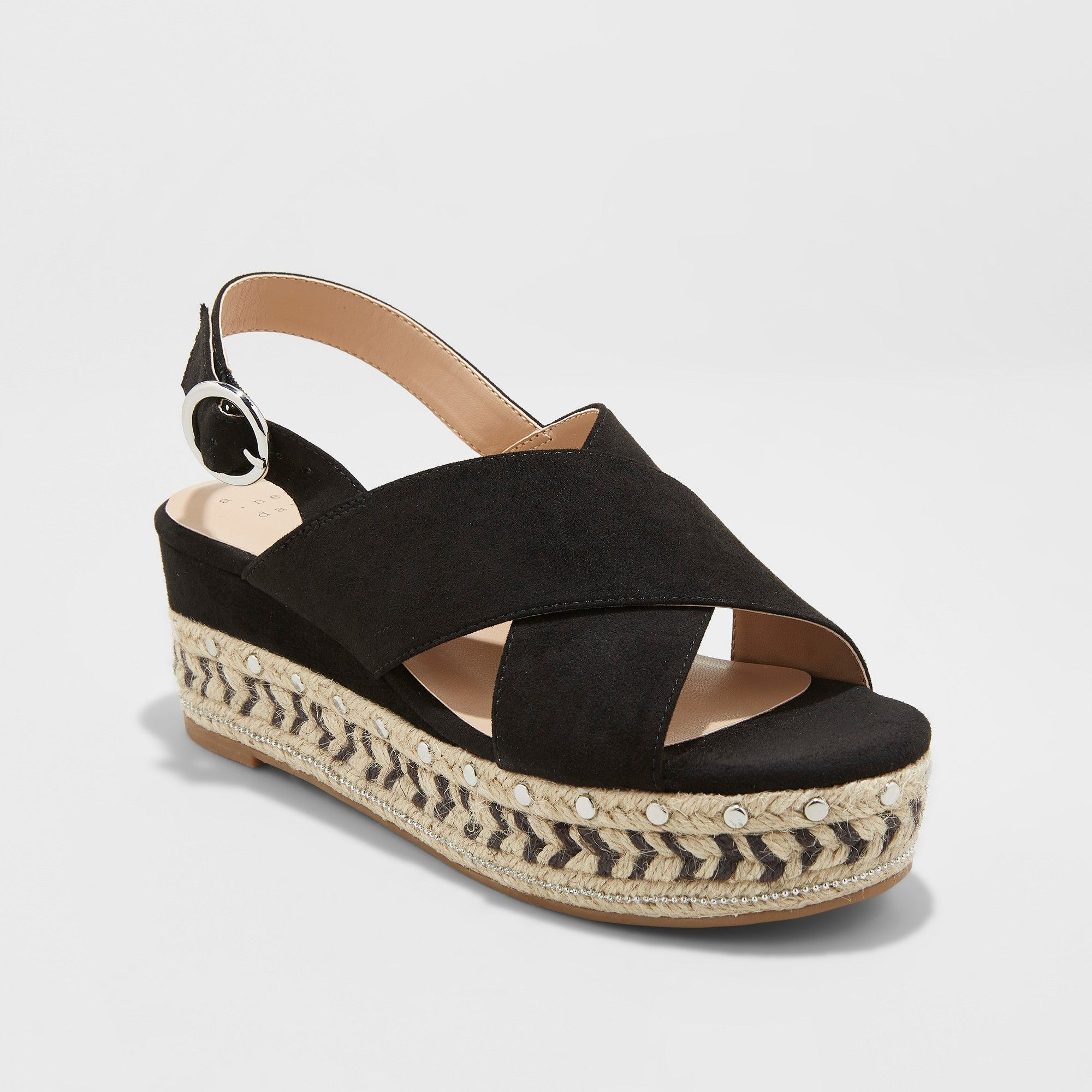 4f20d3a871 Women's Trista Mixed Media Wedge Espadrille - A New Day Black 9 in ...