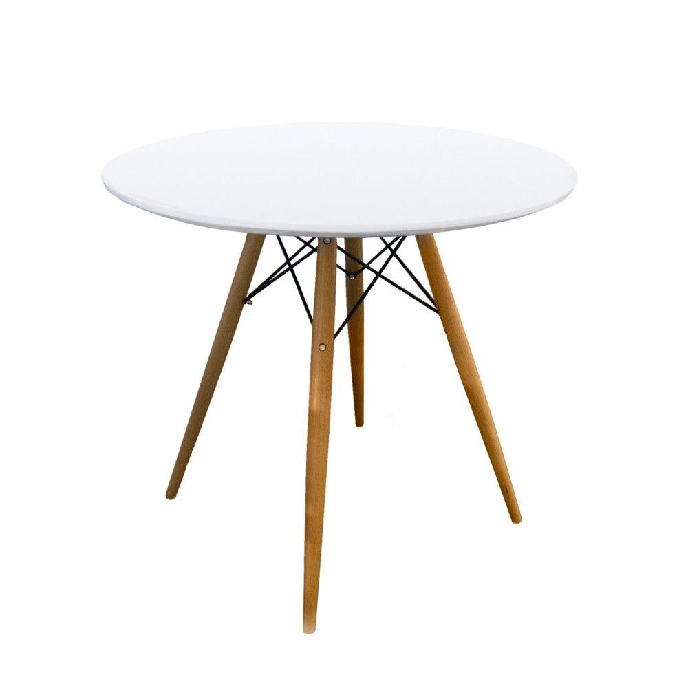 mesa redonda de madera blanca 80x71cm