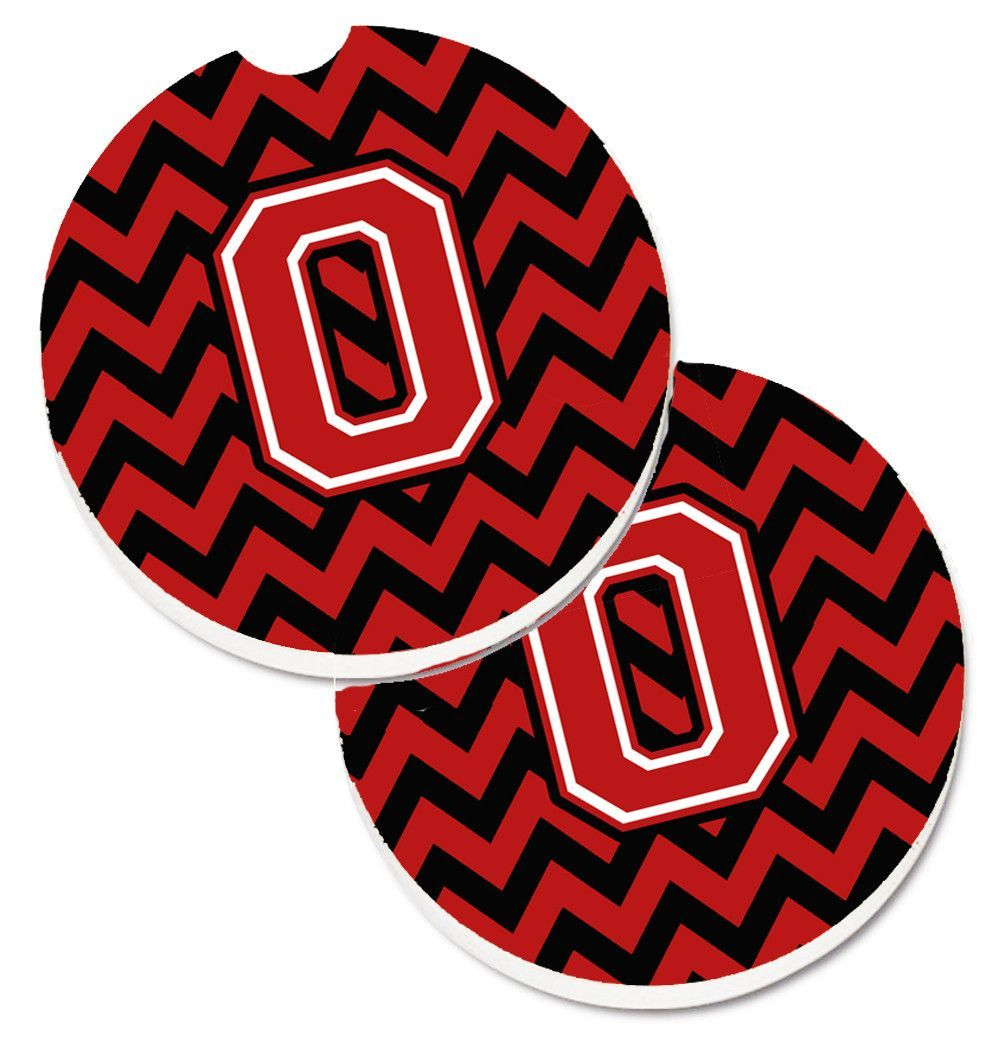 Letter O Chevron Black and Red Set of 2 Cup Holder Car Coasters CJ1047-OCARC