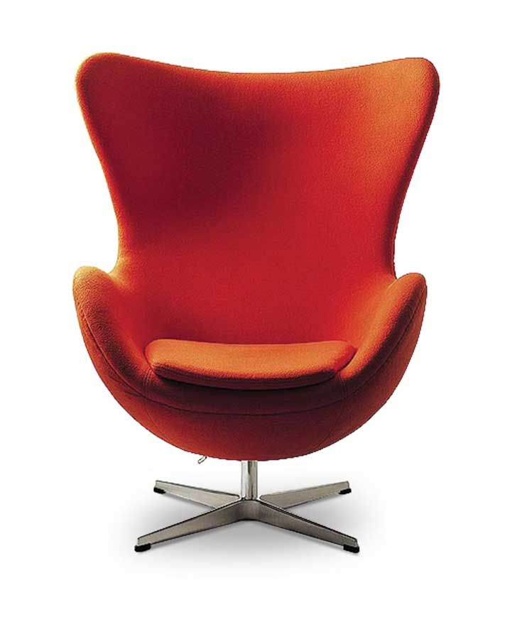 modern chair. Furniture, Marvelous Egg Modern Chairs With Stainless Steel Base Orange: For Living Room Chair