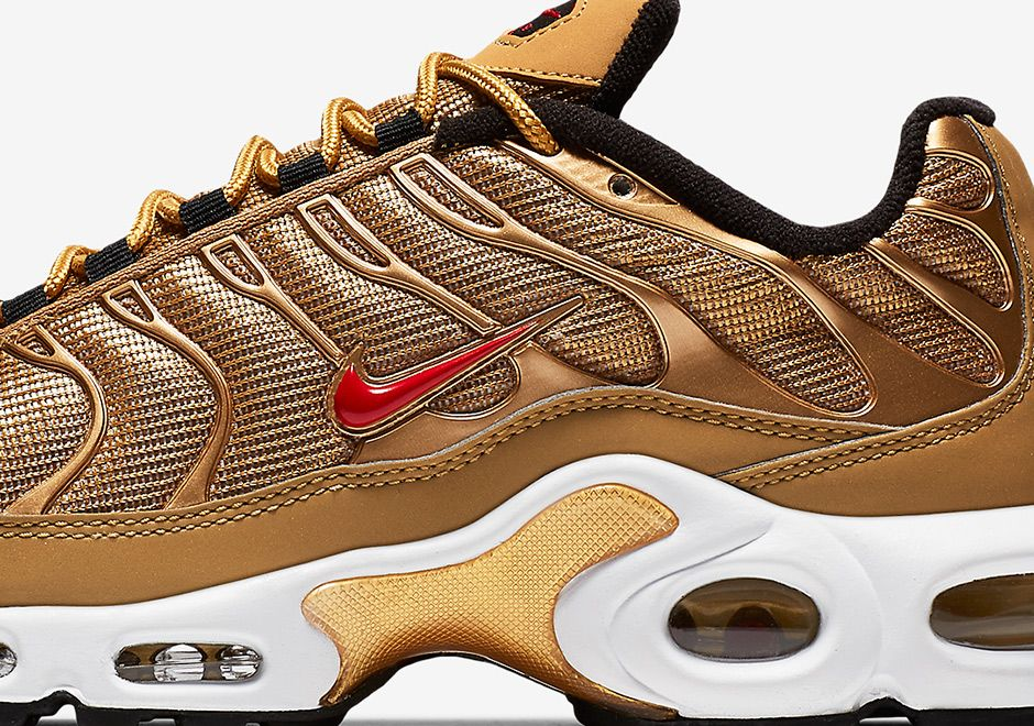 sneakers  news The Nike Air Max Plus Joins The Metallic Gold Club 90e05cad33