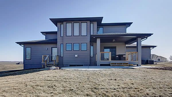 Widhalm Custom Homes Omaha Woodland Model Prairie Modern Mid Century Contemporary Bennington Nebraska Back