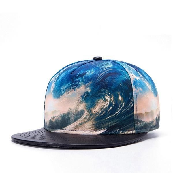 8176b4b3407 Men 3D Beach Printed Polyester Leather Adjustable Baseball Cap Hip Hop Snapback  hat