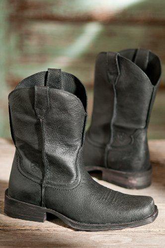 fffd05089308a Amazon.com: Men's Ariat Rambler Leather Cowboy Boots, BLACK, Size 9 ...