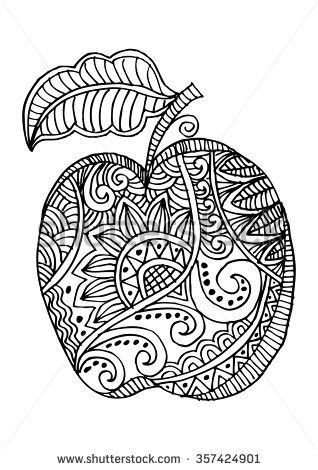 Apple Decorative Fruit Hand Drawing Illustration Coloring Books Fall Coloring Pages Printable Coloring Book