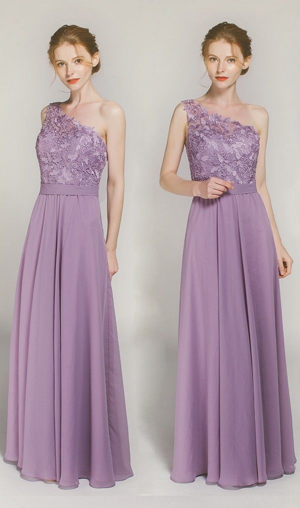 Long One Shoulder Lace Bridesmaid Dress With Chiffon Skirt