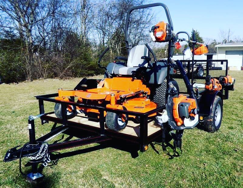 Husqvarna Setup Lawn Equipment And Trailer For Lawncare Lawnmower Zeroturn Ztr Landscape Land Landscape Trailers Lawn Care Business Landscaping Jobs