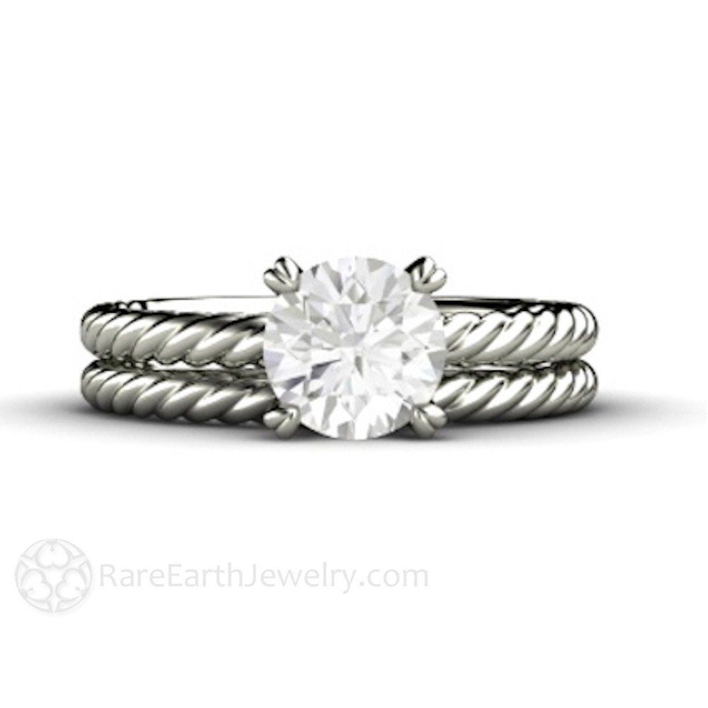Rare Earth Jewelry  1ct Forever One Moissanite Ring With Twisted Gold Bands  And Heart Shaped Wedding Setsbridal