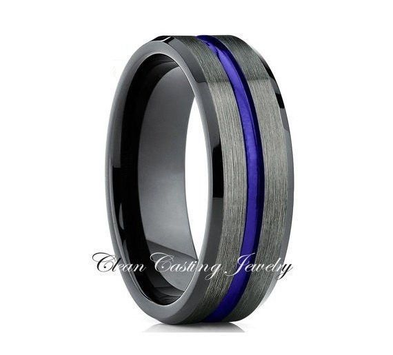 Unique Blue Tungsten Gunmetal Ring Comfort Fit
