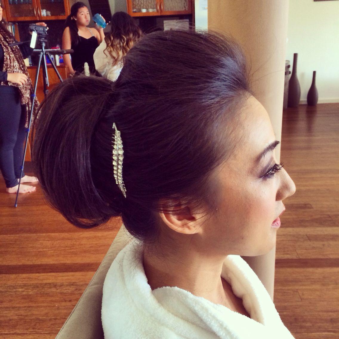 Bridal hairstyle, chignon, quiff, bun. Hair & makeup by