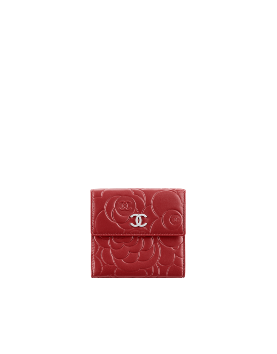 Small wallet in camellia-embossed... - CHANEL-Want and NEED!