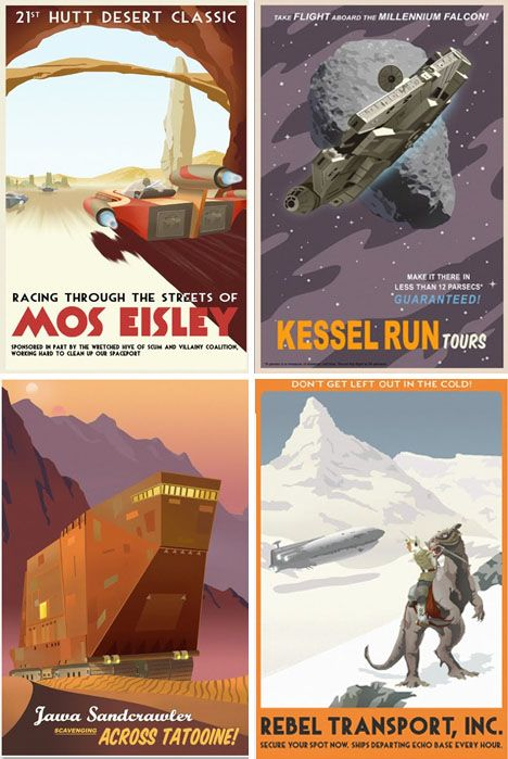Star Wars Rebel Travel posters. Part of set with various travel posters for sci-fi and fantasy places.