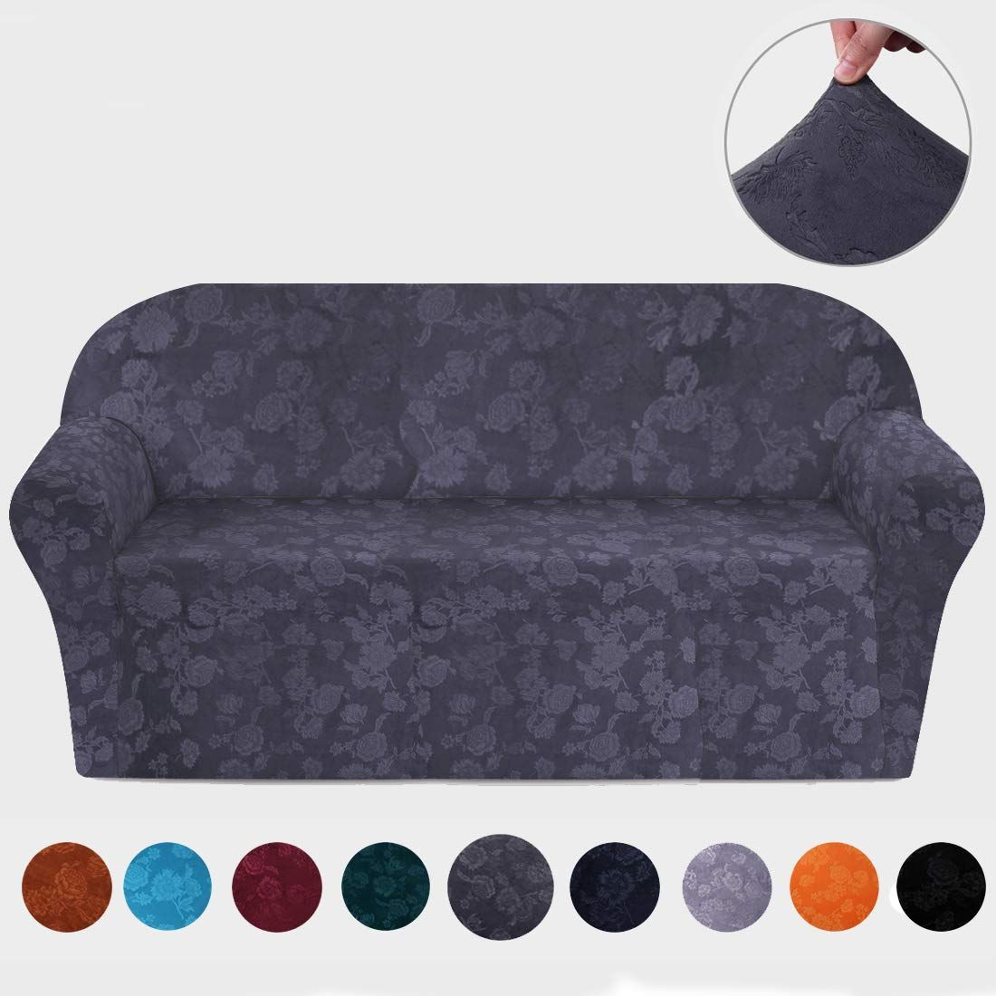 Amazon Com Misaya Stretch Sofa Cover Soft Non Slip Furniture Protector Velvet Embossing Flower 1 Piece Couch Slipcove Slip Covers Couch Slipcovers Sofa Covers
