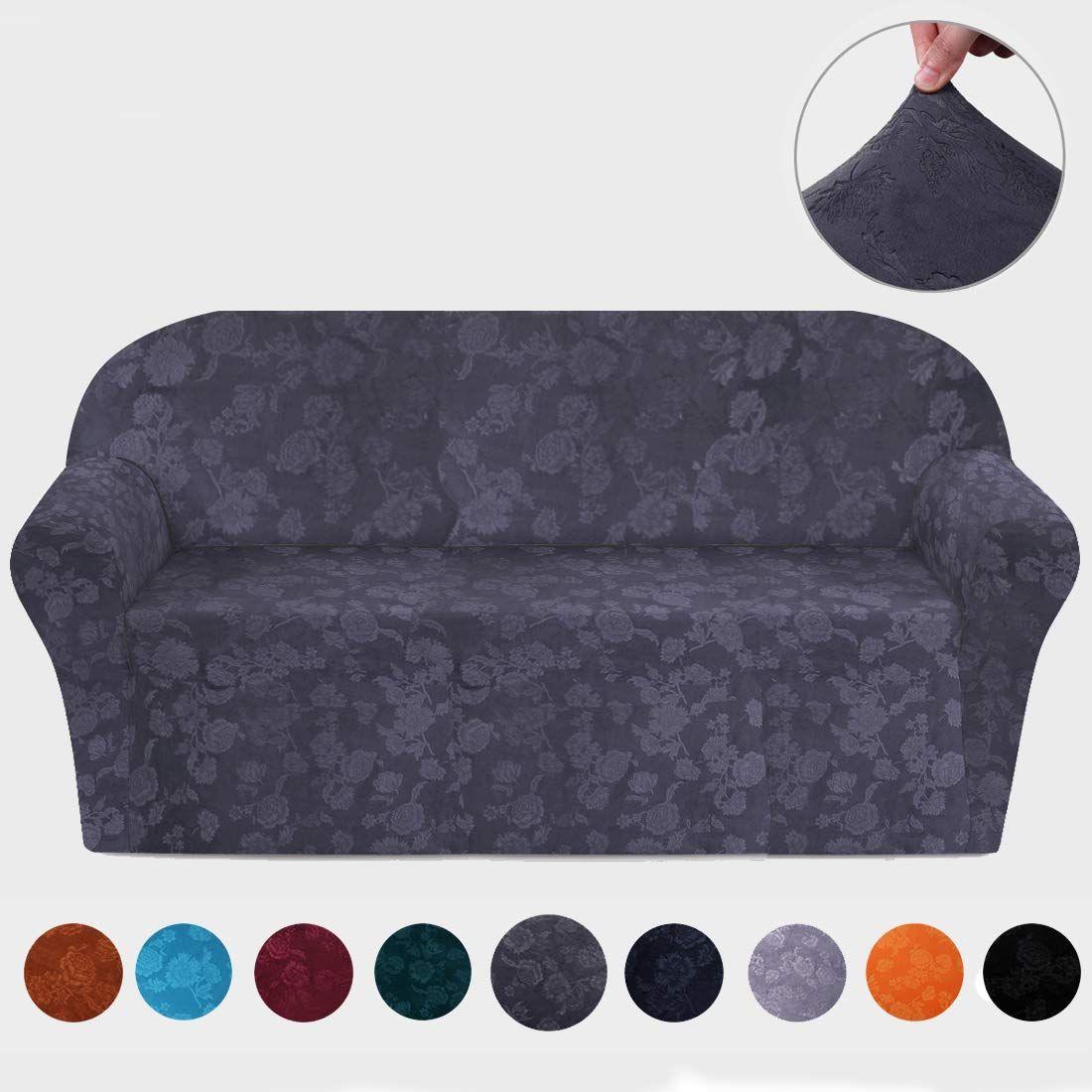 Amazon Com Misaya Stretch Sofa Cover Soft Non Slip Furniture Protector Velvet Embossing Flower 1 Piece Couc Slip Covers Couch Sofa Covers Furniture Protectors