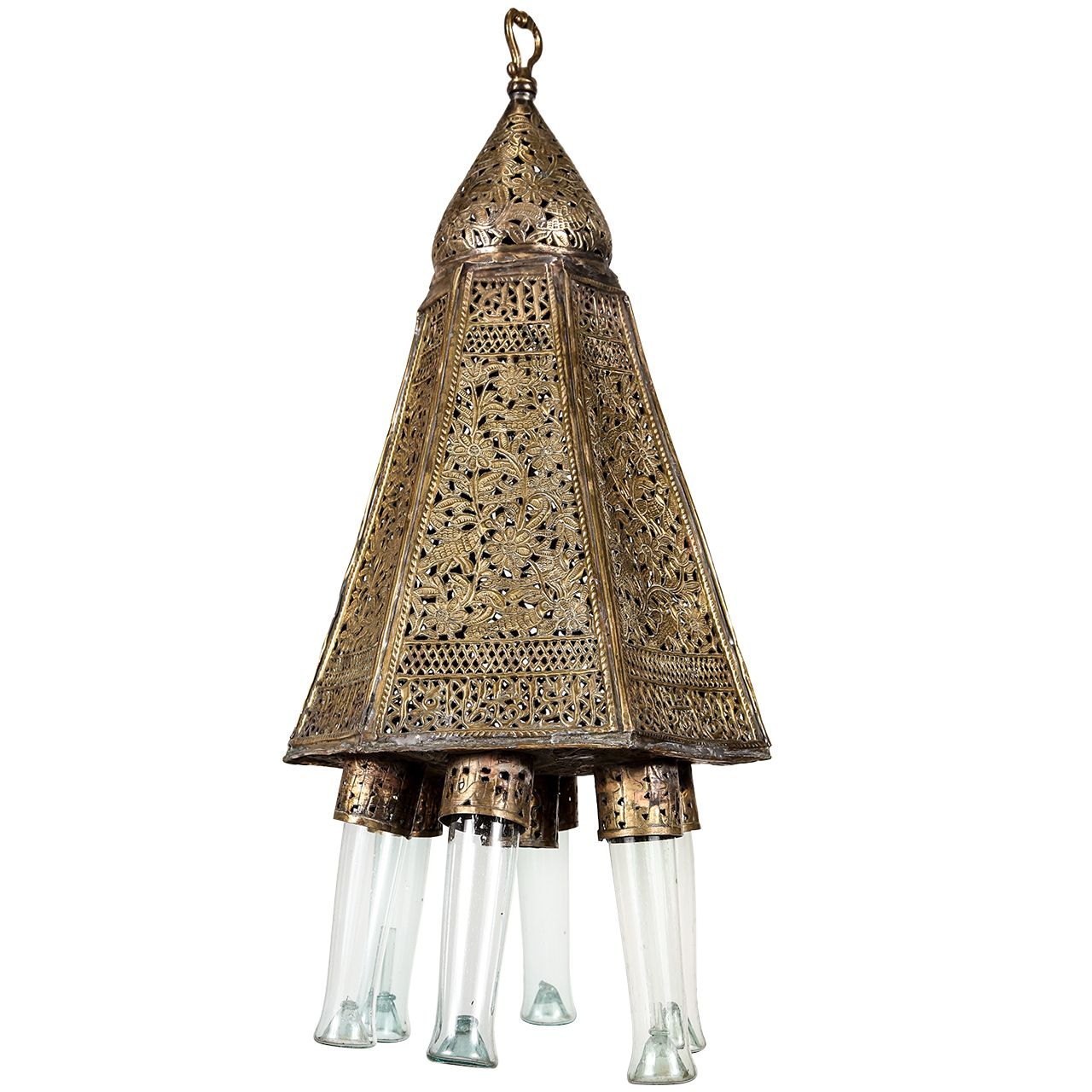 Antique Moorish Brass Syrian Palace Pendant Moroccan