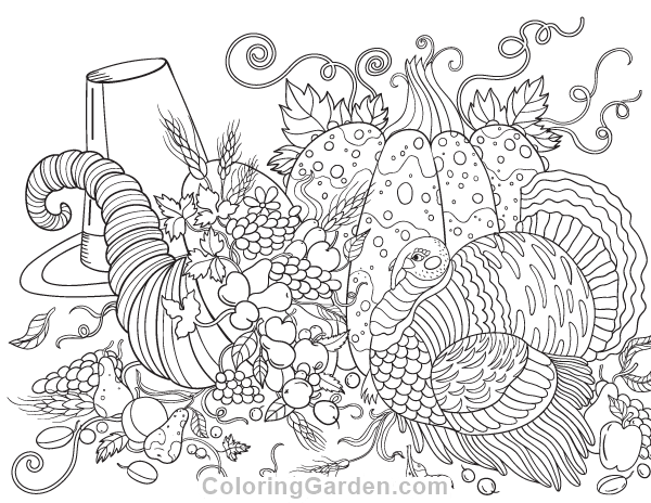 Free printable Thanksgiving adult coloring page Download it in