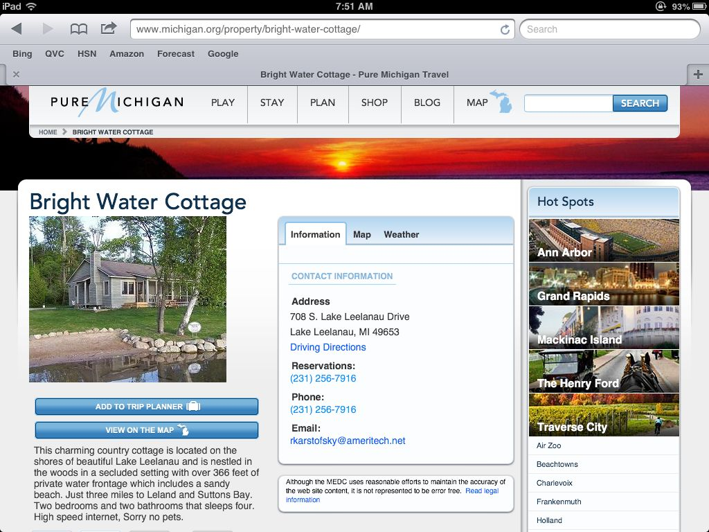 3234413dcc67 Bright Waters cottage is a great vacation rental on Lake Leelanau. Great  location