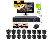 HD 80ft Night Vision Kit Item: PKIT16-80B - HD 1080p Resolution - 16 Black Outdoor Vandal Dome Kit - Manual Zoom Lens 2.8-12mm - 80ft Night Vision