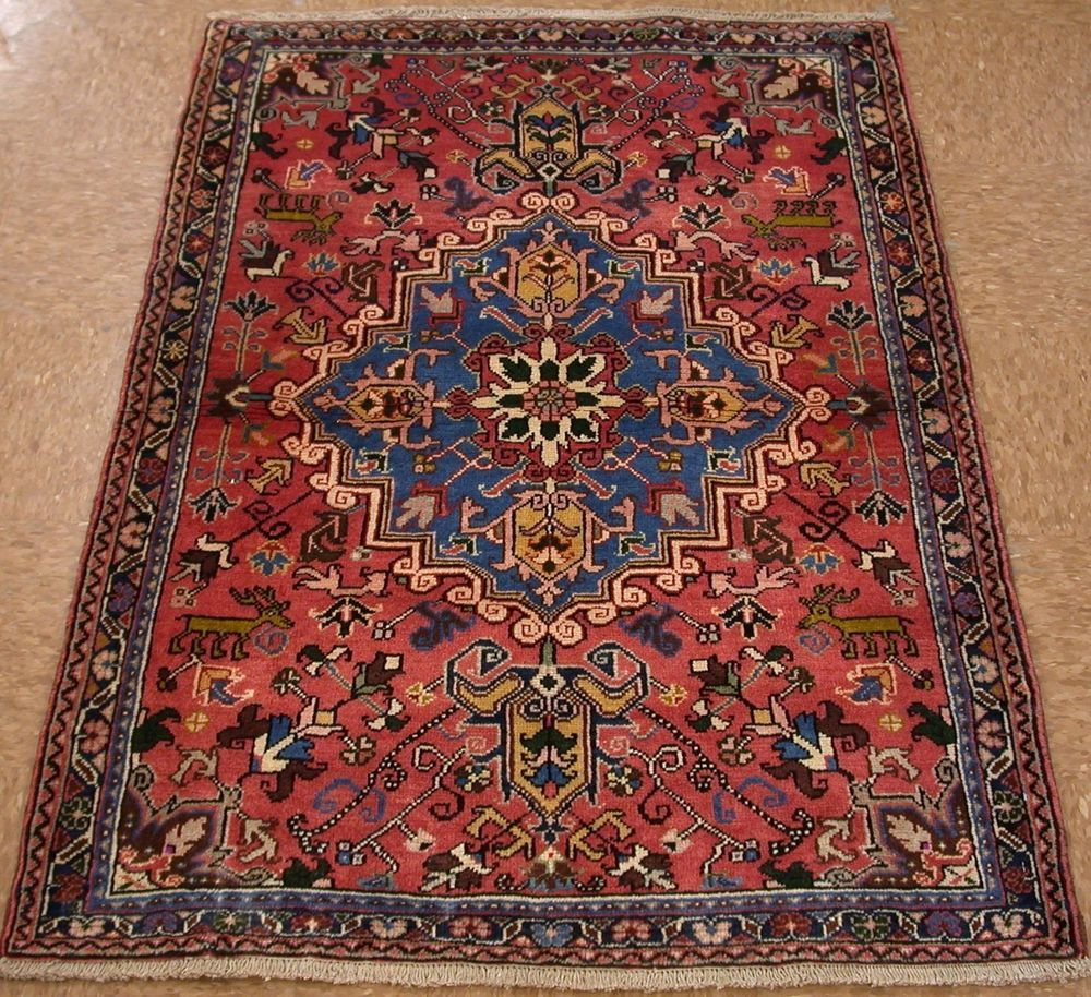 3x5 Antique Persian Heriz Tribal Hand Knotted Wool Terracotta Blue Oriental Rug