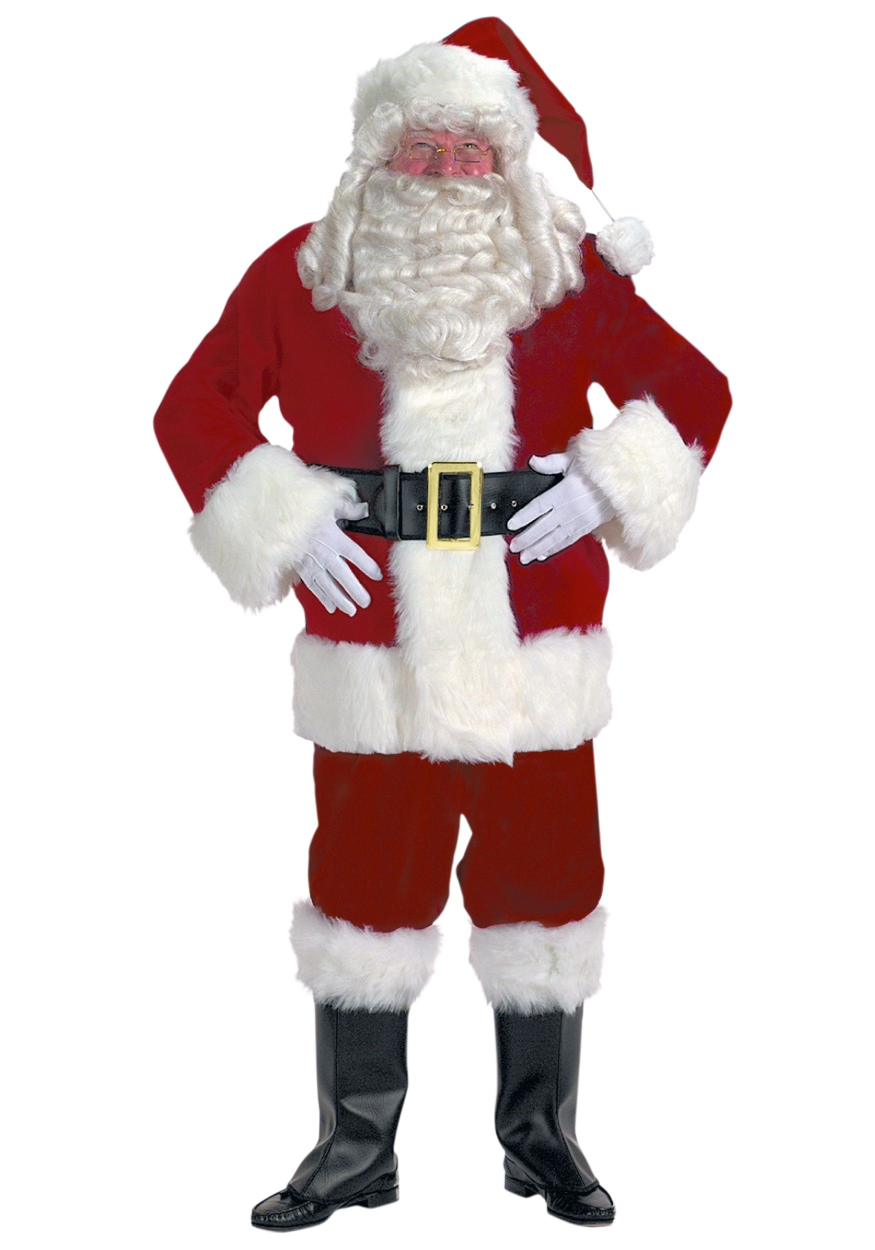 xxl professional velvet santa claus suit from master halco comes with a zipper coat with sleeve cuffs and belt loops pants with side pockets - Santa Santa Claus