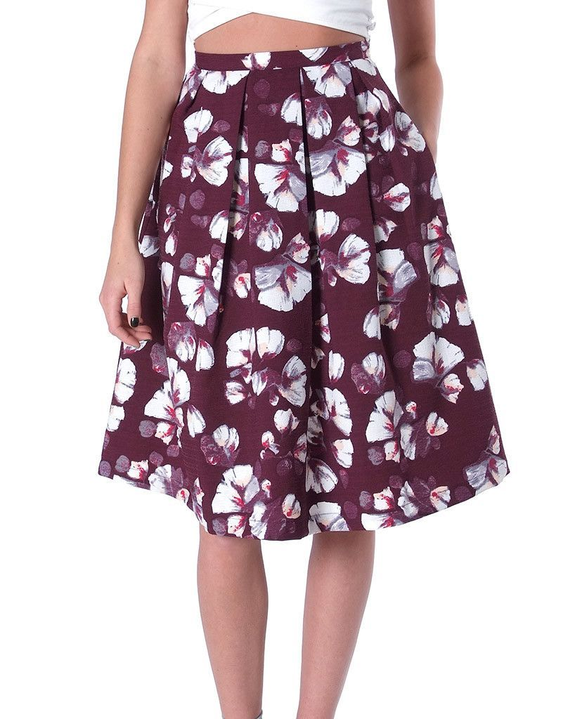 Today Mood Pleats Print Midi Skirt (Non-stretchy crisp floral print ...