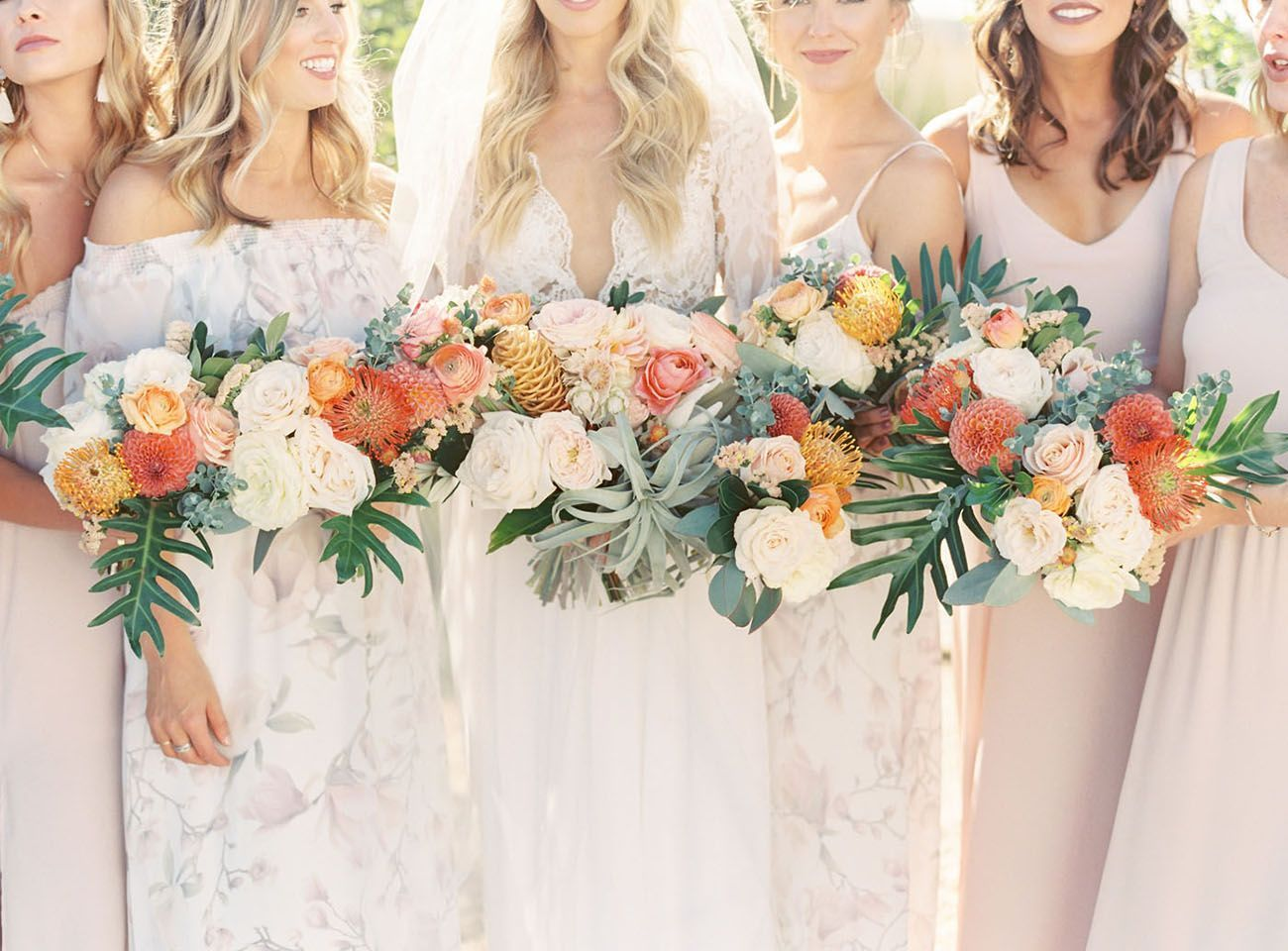 Tropical Bouquets For A Boho Beach Theme Wedding Bride In