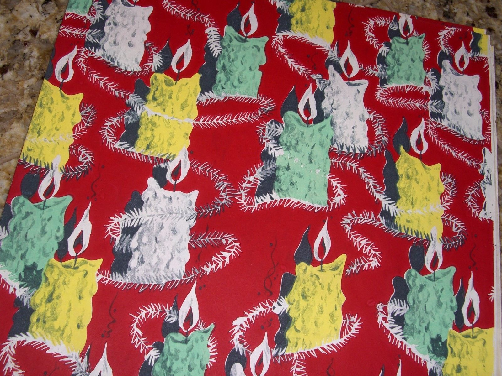 Vintage Christmas Wrapping Paper Large Candles Unused Gift Wrap ...