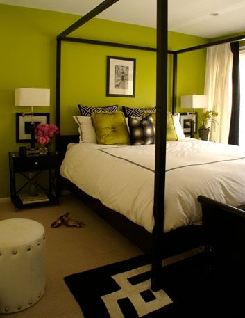 Love The Bed And Lime Green Walls