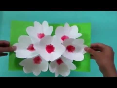 3Д открытка своими руками цветы на 8 марта - <i>цветы на открытке своими руками</i> YouTube