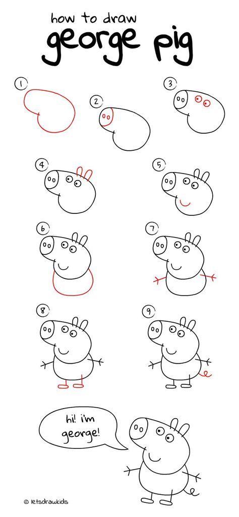 Wie Zeichnet Man George Pig Einfaches Zeichnen Schritt Fur Schritt Perfekt Fur Kinder Lass Uns Malen Kinder Zeichnungen Kinder Zeichnen Einfache Sachen Zum Zeichnen