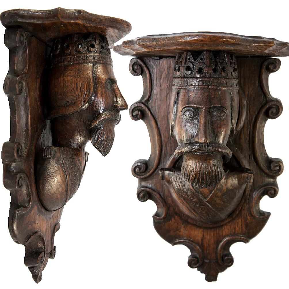 Antique Carved Wood King Figural Bracket Shelf Black Forest Gothic
