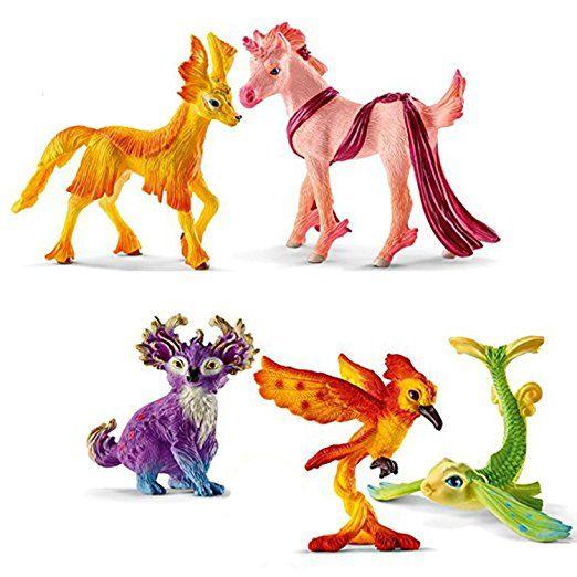 Schleich Regenbogentiere Set 70494 Miriel 70495 Apalu 70496 Mita 70497 Picki 70498 Nitaya Figuren Set 5 Teilig Figur Schleich Figuren Tiere