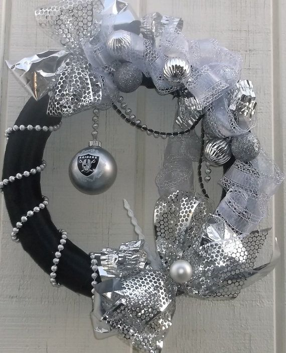 Raiders ornament wreath Wrapped in black by GrandmasWreaths
