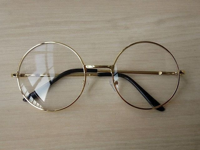 Women Vintage Glasses Frame Plain Mirror Big Round Metal