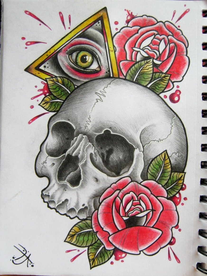 Classic Skull Tattoo Designs Neo Traditional Rose Skull ...