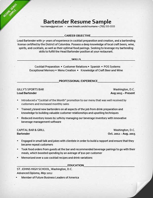 Example Bartender Resume Bartenders Corner Pinterest Bartenders - bartender resume example