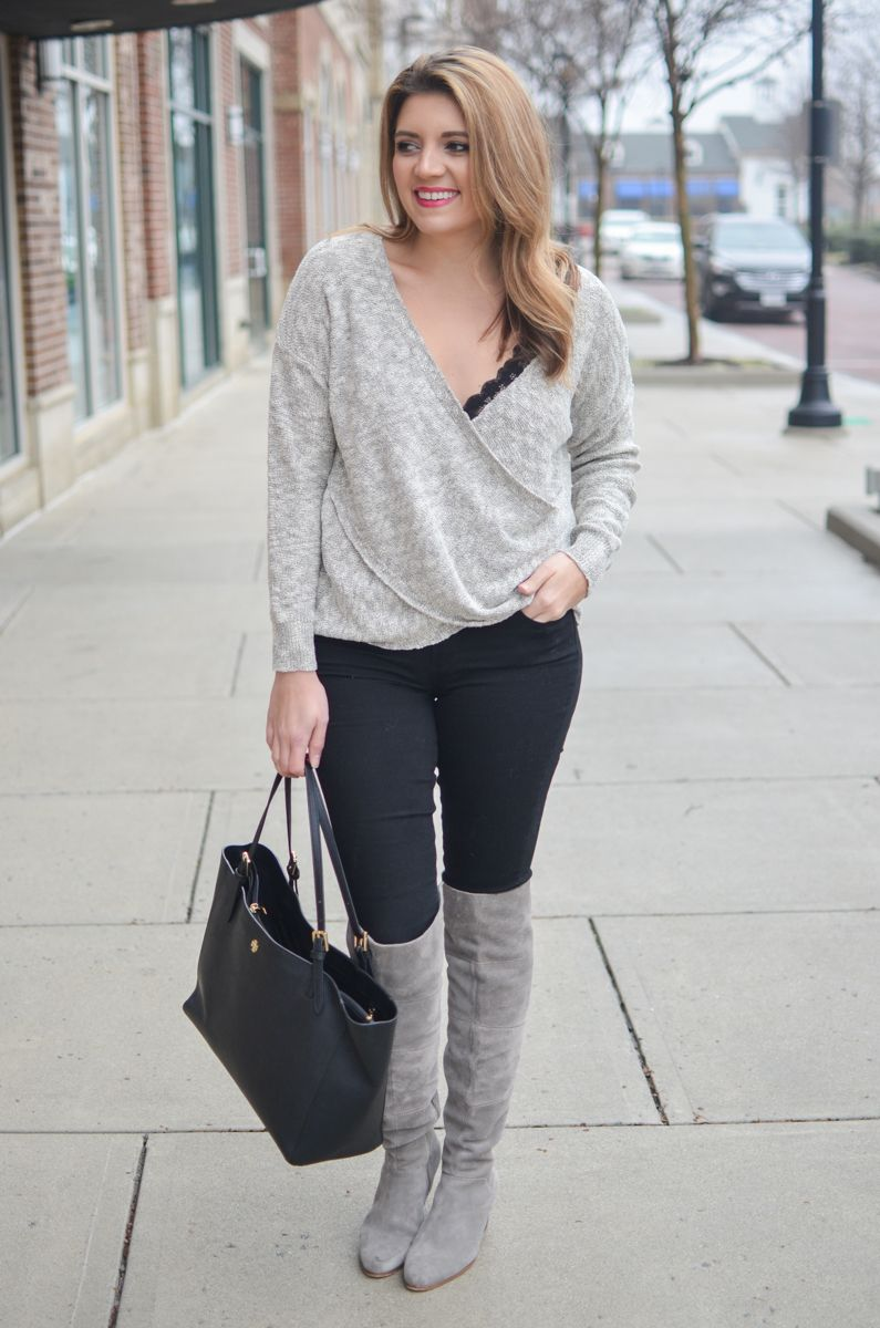 3d17c6905e draped gray sweater with black lace bralette