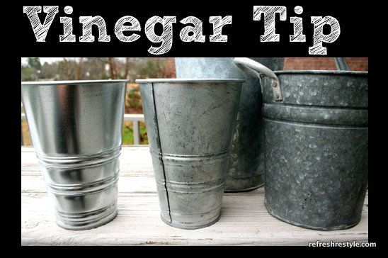 Make shiny new galvanized buckets look old with vinegar ...