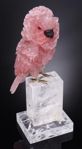Majestic Rose Quartz Carving of a Cockatoo, Rock Crystal Base