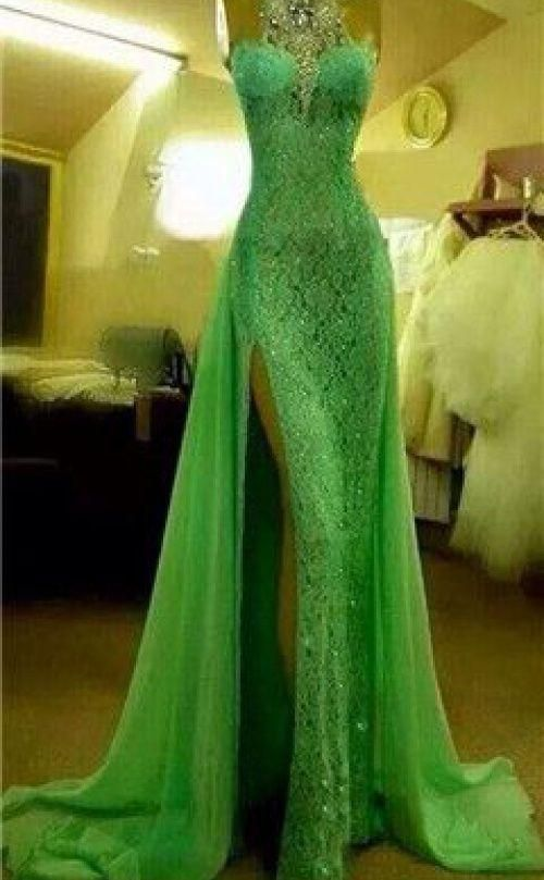 04bded8aadc Emerald Green Evening Dresses High Collar with Crystal Diamond Arabic Evening  Gowns Long Lace Side Slit Dubai Evening Dresses