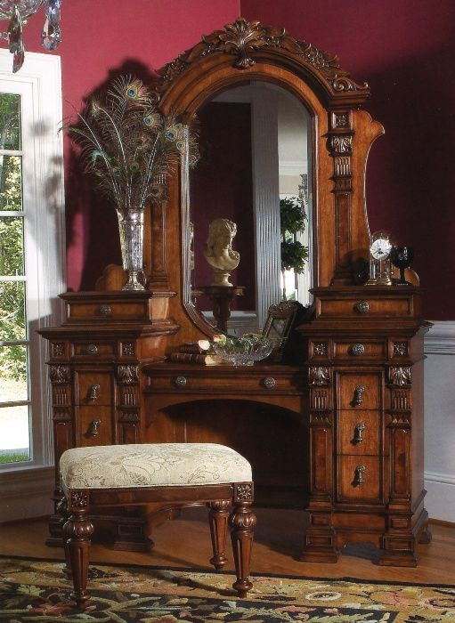 Antique Vanity Dresser With Mirror And Stool Drawers