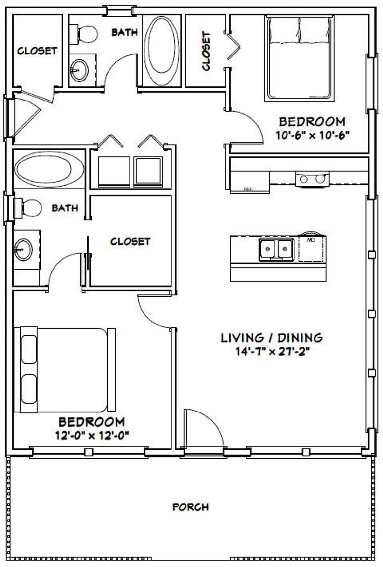 28x34 House 2 Bedroom 2 Bath 952 Sq Ft Pdf Floor Plan Etsy In 2021 Tiny House Floor Plans Small House Floor Plans Small House Plans