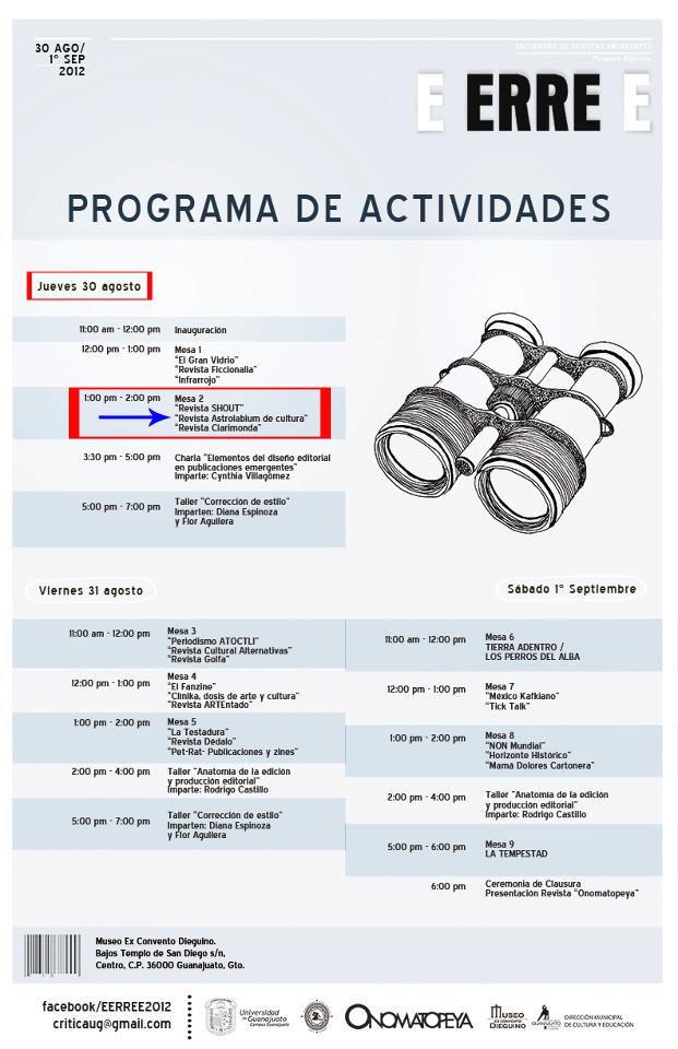 Programa de actividades para el encuentro de #revistas #culturales #guanajuato