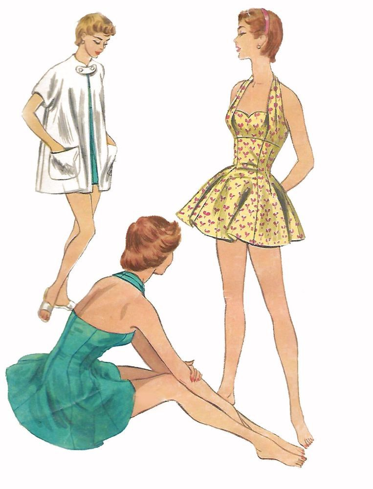 Vintage 50\'s Sewing Pattern Halter Neck Bathing Suit & Beach Coat ...