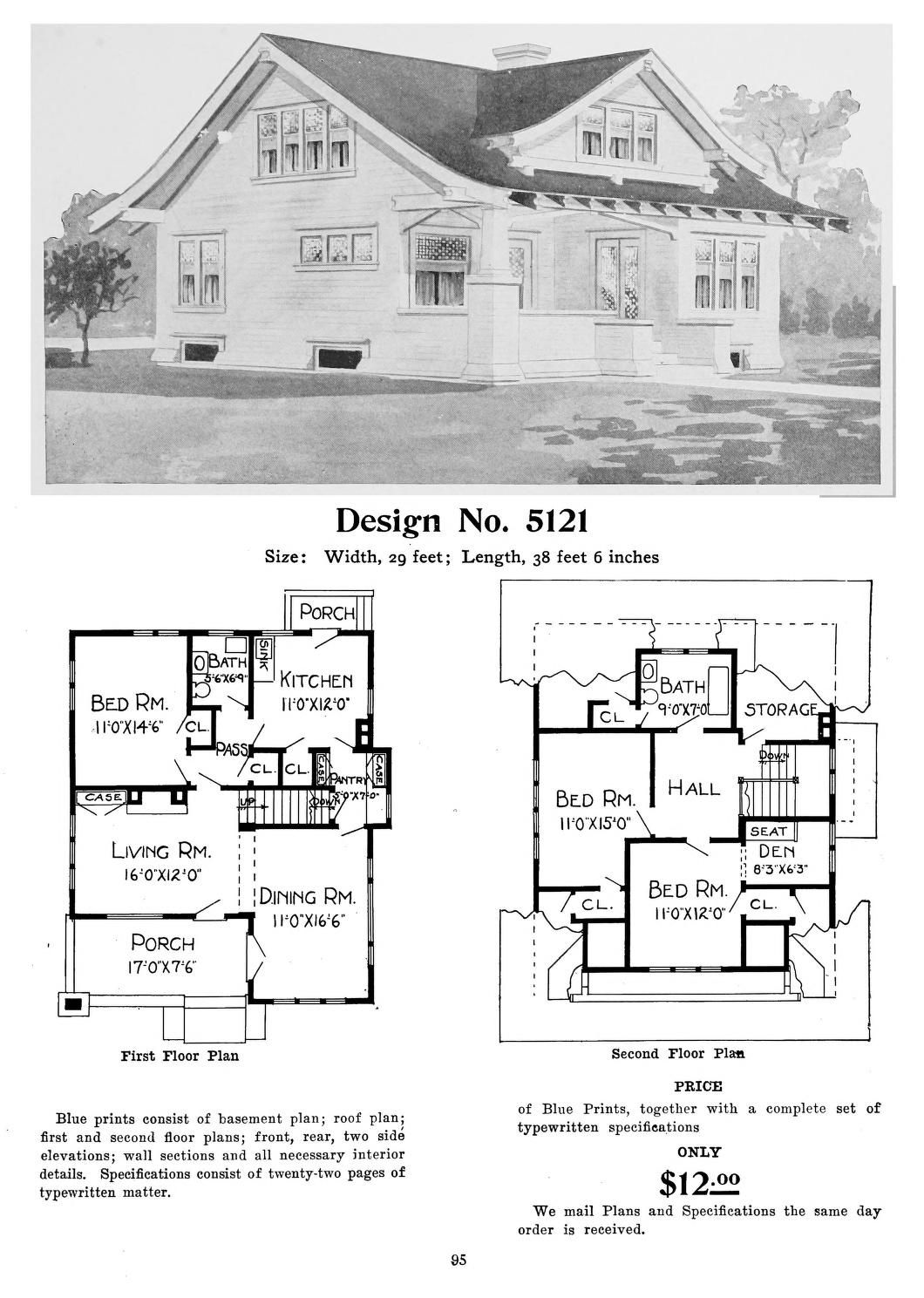 Radford S Artistic Bungalows House Catalog 1908 Design 5121 Craftsman Bungalow Exterior Vintage House Plans Craftsman House