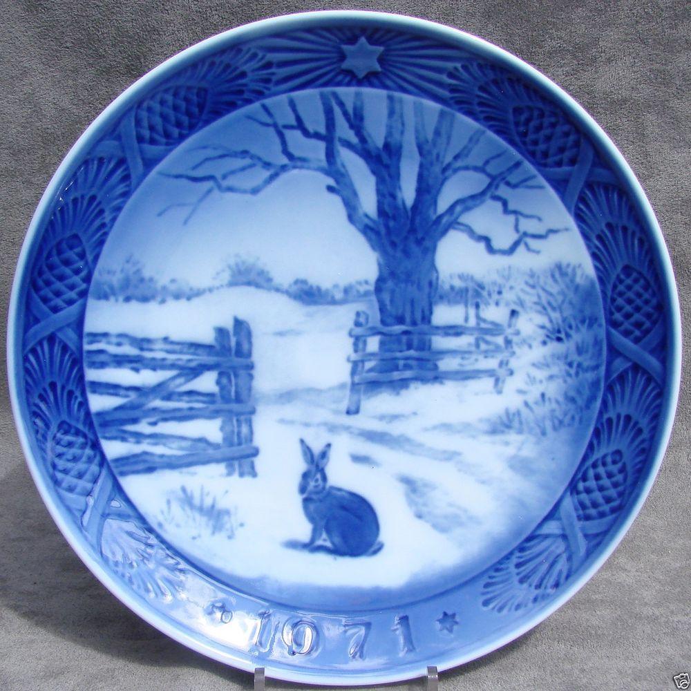Royal Copenhagen Christmas Plates.Royal Copenhagen 1971 Christmas Plate Rabbit Hare In