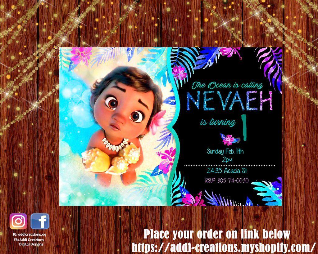 moana birthday invitation moana