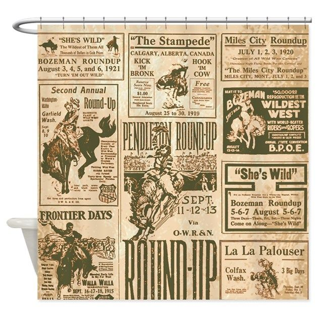 Vintage Rodeo Round Up Shower Curtain By Teeblrrich Rustic
