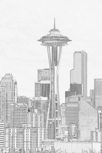 Space Needle And Seattle Skyline Pencil Sketch Filter Skyline