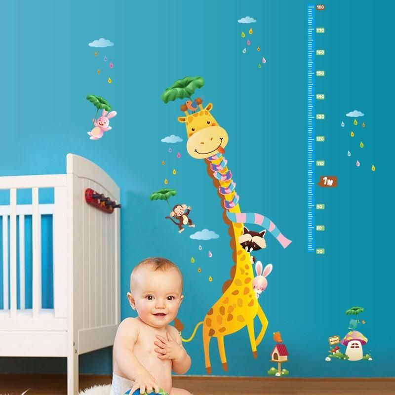 giraffe height chart wall stickers | child height chart stickers